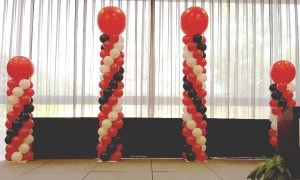 Red, White and Black Balloon Columns, by Balloonopolis, Columbia, SC