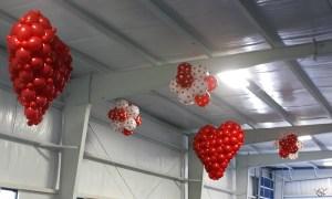 Hanging balloon hearts, by Balloonopolis, Columbia, SC