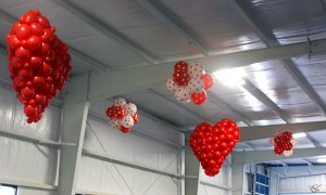Hanging balloon hearts, by Balloonopolis, Columbia, SC