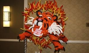 Balloon tiger leaps through ring of fire, by Balloonopolis, Columbia, SC