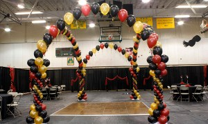 red, black and gold dancefloor, by Balloonopolis, Columbia, SC
