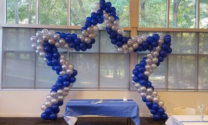 Star frame balloon arch, by Balloonopolis, Columbia, SC