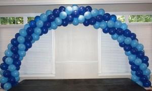 Double door spiral balloon arch, by Balloonopolis, Columbia, SC