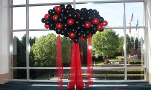 Red and black balloon tree for prom, by Balloonopolis, Columbia, SC