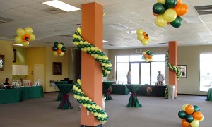Balloon garland wrapped around column, by Balloonopolis, Columbia, SC