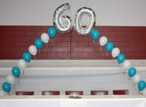 Helium Balloon arch with 60, Balloon Numbers and Letters, by Balloonopolis, Columbia, SC