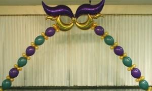 Mardi Gras helium balloon arch, by Balloonopolis, Columbia, SC