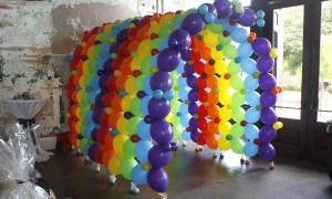 colorful balloon tunnel, by Balloonoplis, Columbia, SC