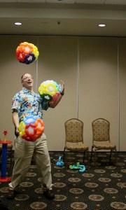 Ralph Summer juggling balloons, by Balloonopolis, Columbia, SC