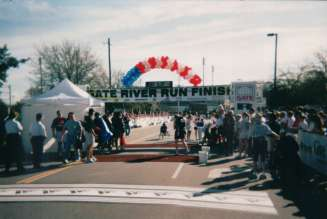 Balloon Arch at River Run Finish Line