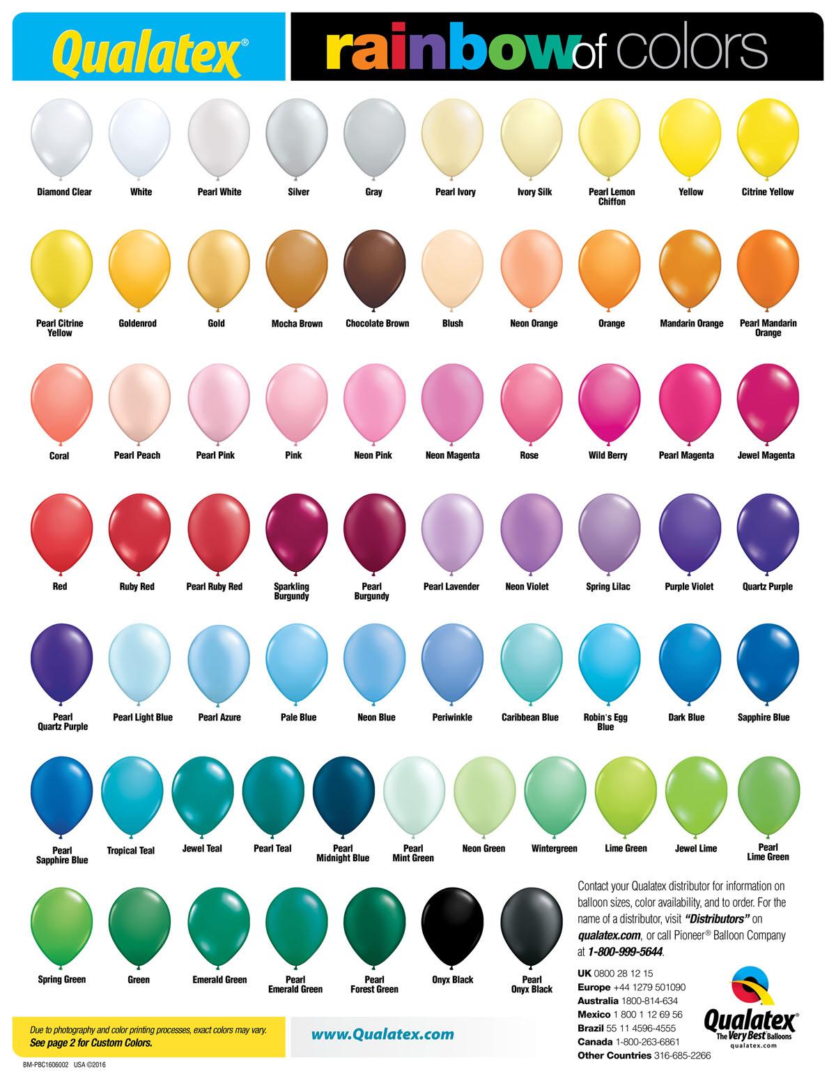 Balloon Color Chart