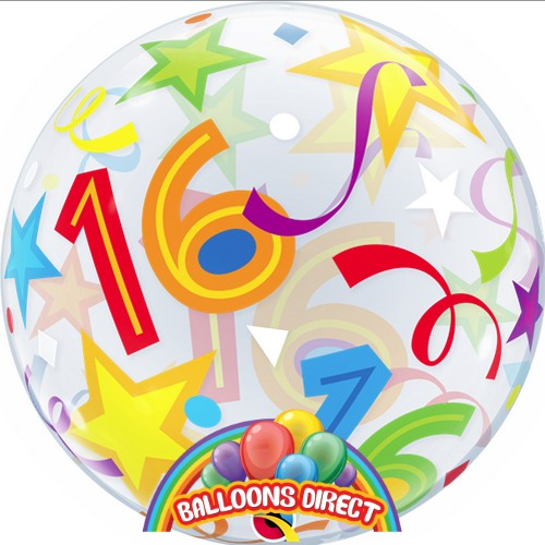 """16th birthday 22"""" shapes bubble balloon from balloons direct"""