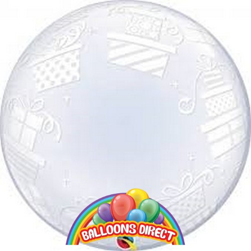 """custom 22"""" presents bubble balloon from balloons direct"""