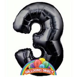 """black number 3 large 34"""" foil balloon"""