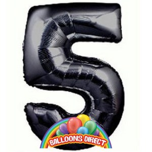 Large 36 inch number 5 black inflated foil balloon