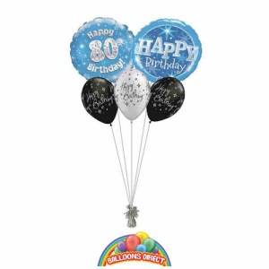 80th birthday blue bouquet from balloonsdirect.ie