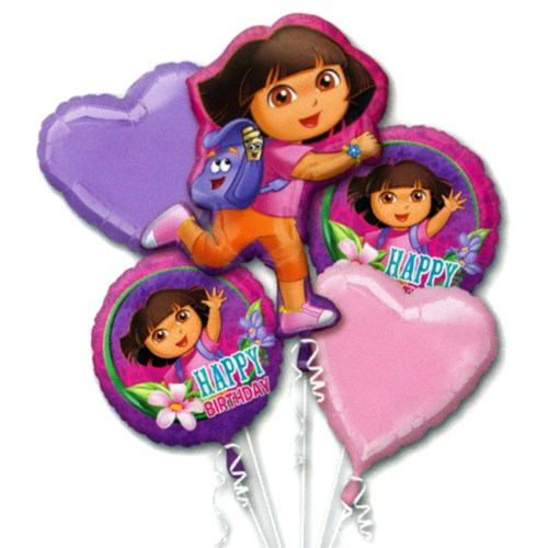 Dora the Explorer Birthday Mylar Balloon Bouquet Inflated from Balloon Shop NYC