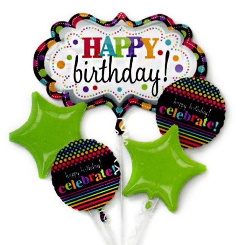 Happy Birthday Marquee Mylar Balloon Bouquet Inflated