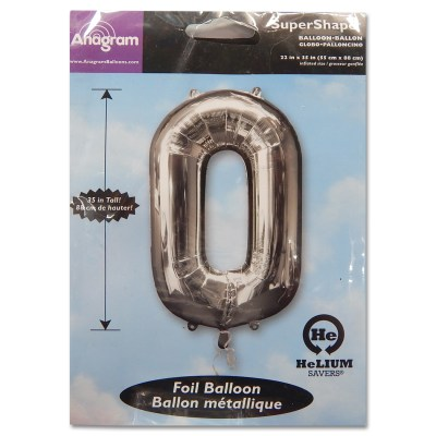 0 Silver Number Foil Balloon Not Inflated from Balloon Shop NYC