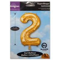 2 Gold Number Foil Balloon Not Inflated from Balloon Shop NYC
