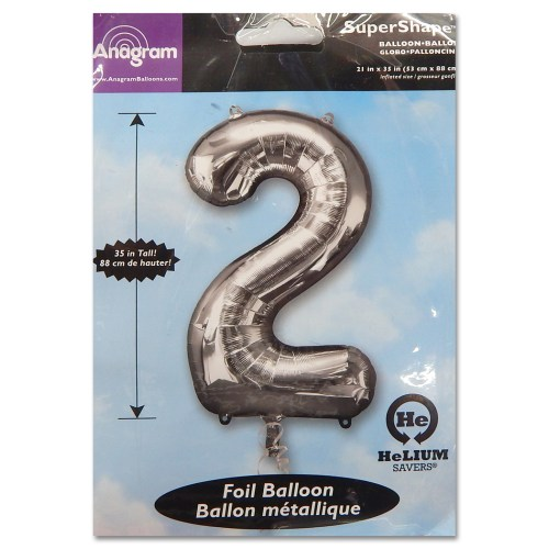 2 Silver Number Foil Balloon Not Inflated from Balloon Shop NYC
