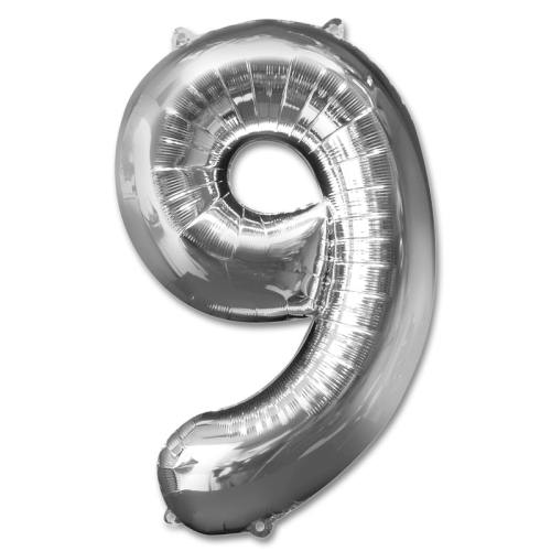 Number 9 Silver Jumbo Foil Balloon from Balloons Shop NYC