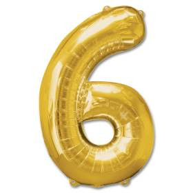 Number 6 Gold Jumbo Foil Balloon from Balloons Shop NYC