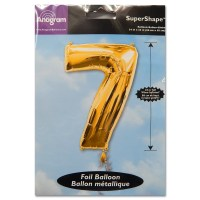 7 Gold Number Foil Balloon Not Inflated from Balloon Shop NYC