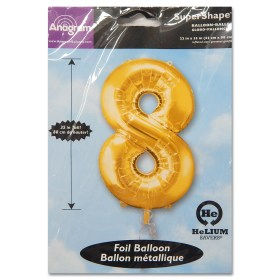 8 Gold Number Foil Balloon Not Inflated from Balloon Shop NYC