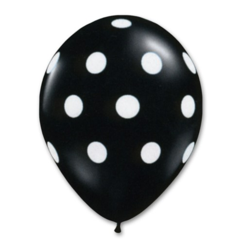 Black Latex Party Balloons Polka Dot 12 inch from Balloon Shop NYC
