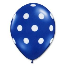 Bright Royal Blue Latex Party Balloons Polka Dot 12 inch from Balloon Shop NYC