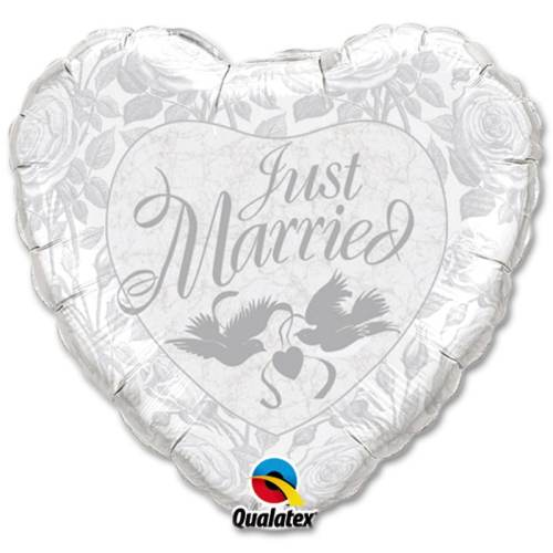 Just Married White and Silver Mylar Party Balloon