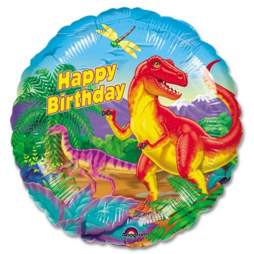 Dinosaur Party Happy Birthday Mylar Balloon from Balloon Shop NYC