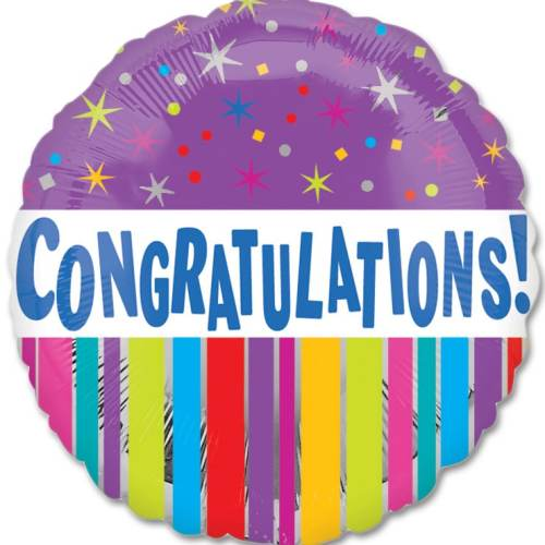 Congratulations Stars and Stripes Mylar Party Balloon from Balloons Shop NYC