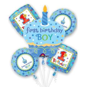 First Birthday Sweet Little Cupcake Boy Balloon Bouquet from Balloons Shop NYC
