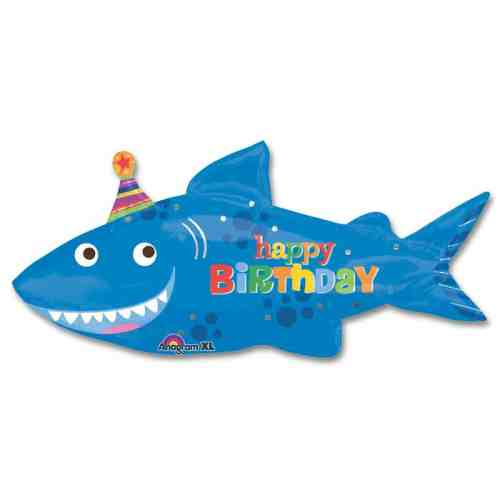Happy Shark Birthday Mylar Balloon 39 Inch from Balloon Shop NYC