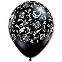 Black with White Damask Print Latex Party Balloon From Balloons Shop NYC
