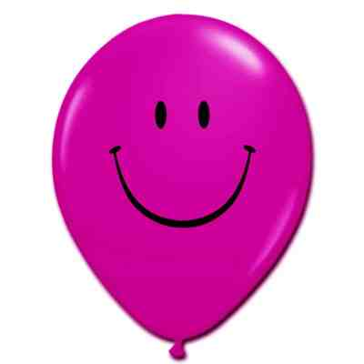 Smile Face Jewel Magenta Latex 12 inch Party Balloon from Balloon Shop NYC