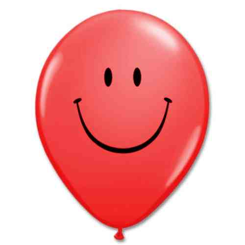 Smile Face Red Latex 12 inch Party Balloon from Balloon Shop NYC