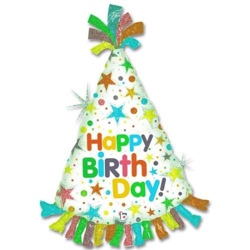 Happy Birthday Party Hat Mylar Balloon 34 Inch from Balloon Shop NYC