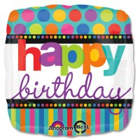 Happy Birthday Dots & Stripes Balloon from Balloon Shop NYC
