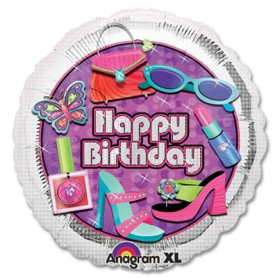 Glitsy Girl Happy Birthday Mylar Balloon from Balloon Shop NYC