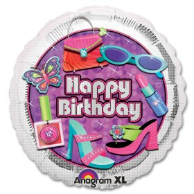 Glitsy Girl Happy Birthday Mylar Balloon from Balloon Shop NYC