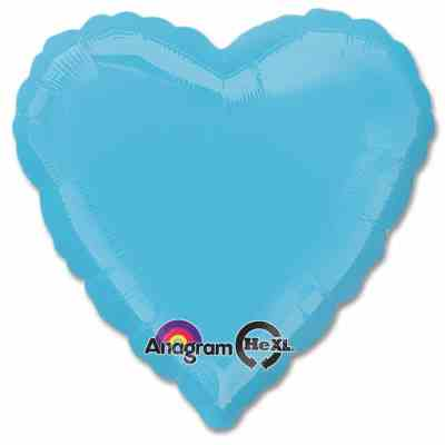 Caribbean Blue Heart Shape 18 Inch Mylar Party Balloon from Balloons Shop NYC