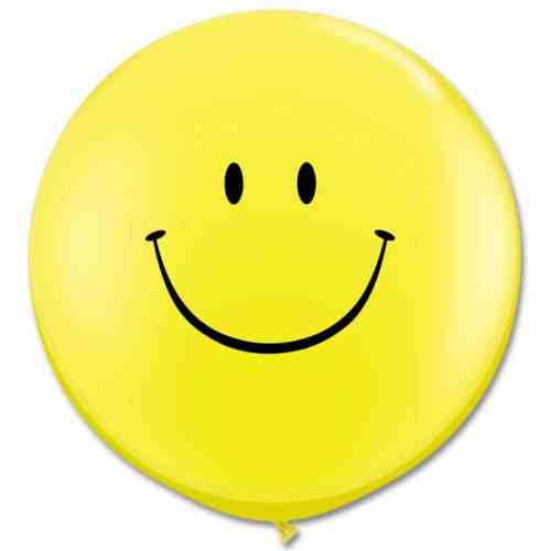 Latex Party Balloon 36 Inch Round Smile Yellow from Balloons Shop NYC