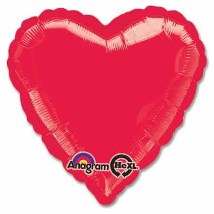 Metallic Red Heart Shape 18 Inch Mylar Party Balloon from Balloons Shop NYC