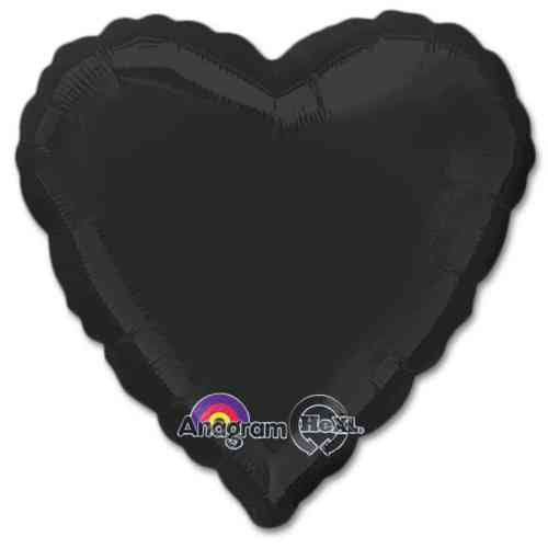 Opaque Black Heart Shape 18 Inch Mylar Party Balloon from Balloons Shop NYC