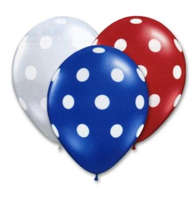 Patriotic Assortment Latex Party Balloons Polka Dot 12 inch from Balloon Shop NYC