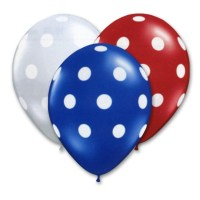 Patriotic Assortment Latex Party Balloons Polka Dot 12 inch from Balloon Shop NYC