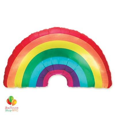 Extra Large Rainbow Foil Party Balloon 36 Inch Inflated delivery for New York City Pride Parade 2018